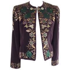 Oscar de la Renta Vintage Purple Embroidered Velvet Jacket - 10 - Circa 80's