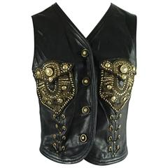 Versace Black Leather Vest with Gold and Silver Studs and Grommets