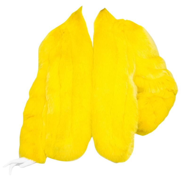 A 1980s Bright Yellow Dyed Saga Furs Fox Coat 1