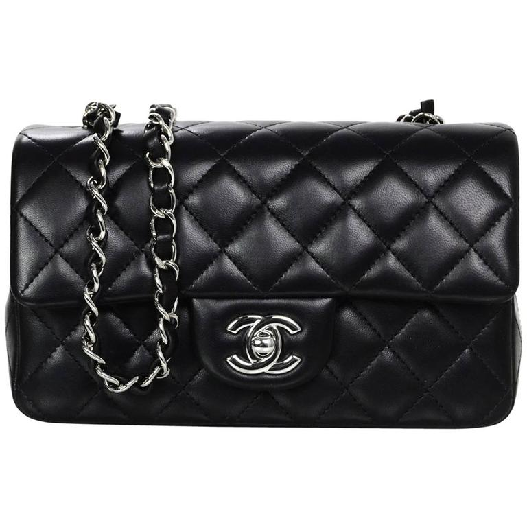 Chanel Black Lambskin Leather Quilted Rectangular Mini Flap Crossbody Bag  For Sale 072f4d8e5f5c0