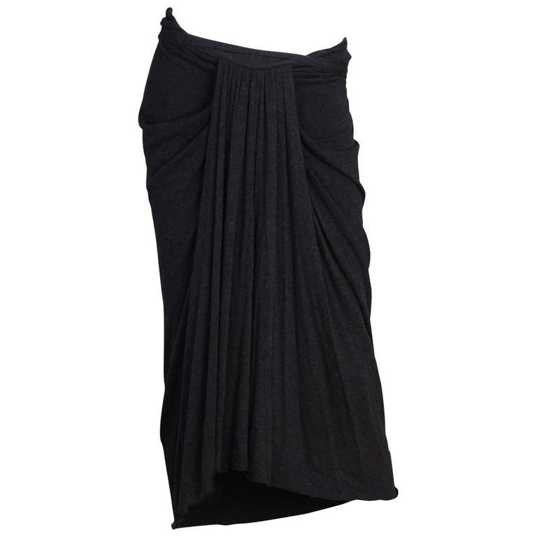 Rick Owens NEW Grey Draped Front Skirt sz US10 rt. $470