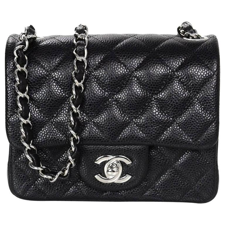 9285448ee8e8 Chanel Black Caviar Leather Quilted Square Mini Crossbody Flap Bag SHW For  Sale