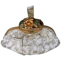 Opulent French Brass Floral Evening Bag c 1940s