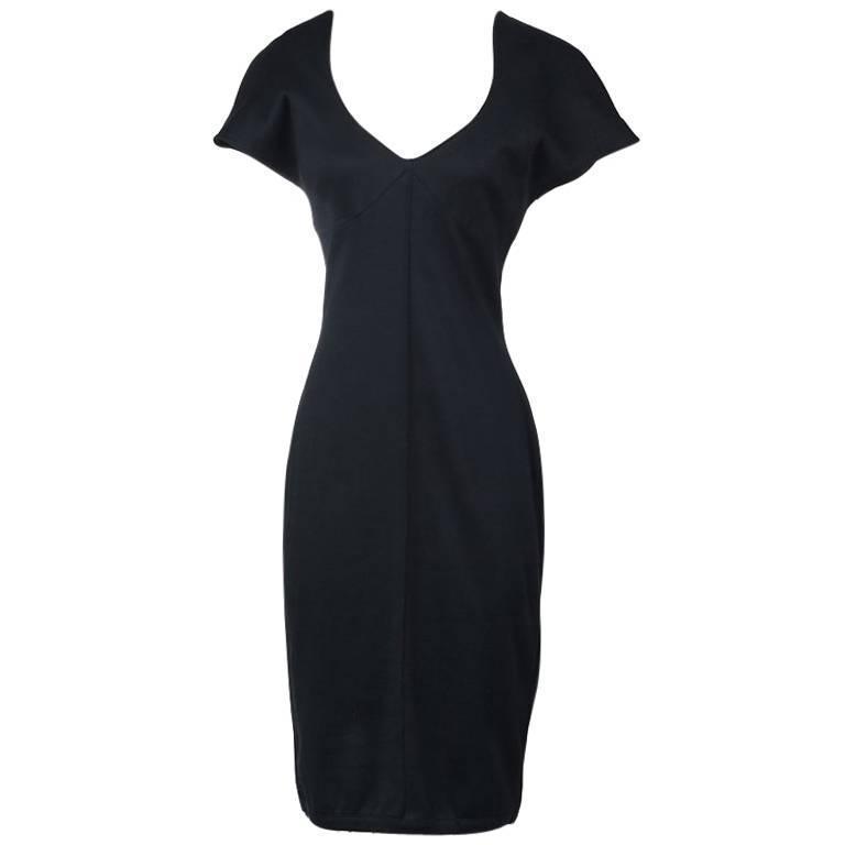 Thierry Mugler Batwing Sleeve Knit Jersey Dress