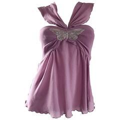 Alessandro Dell' Acqua 90s Lilac Lavender Silver Butterfly Silk Chiffon Blouse