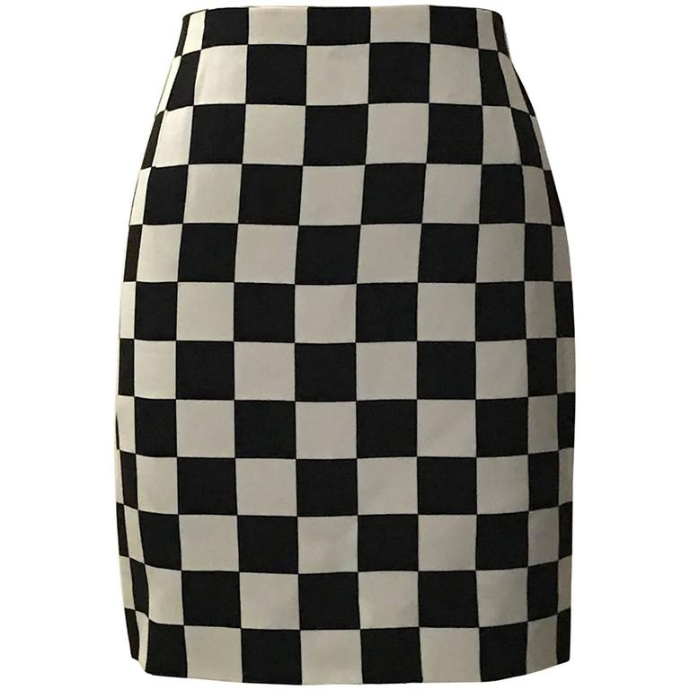 Gianni Versace Couture 1990s Black and White Check Silk Pencil Skirt  For Sale