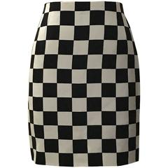 Gianni Versace Couture 1990s Black and White Check Silk Pencil Skirt