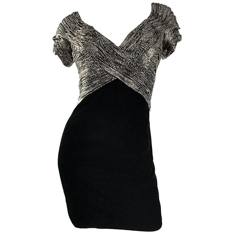 Vintage Vicky Tiel Couture Gold + Black Velvet Metallic Snakeskin Mini Dress  For Sale