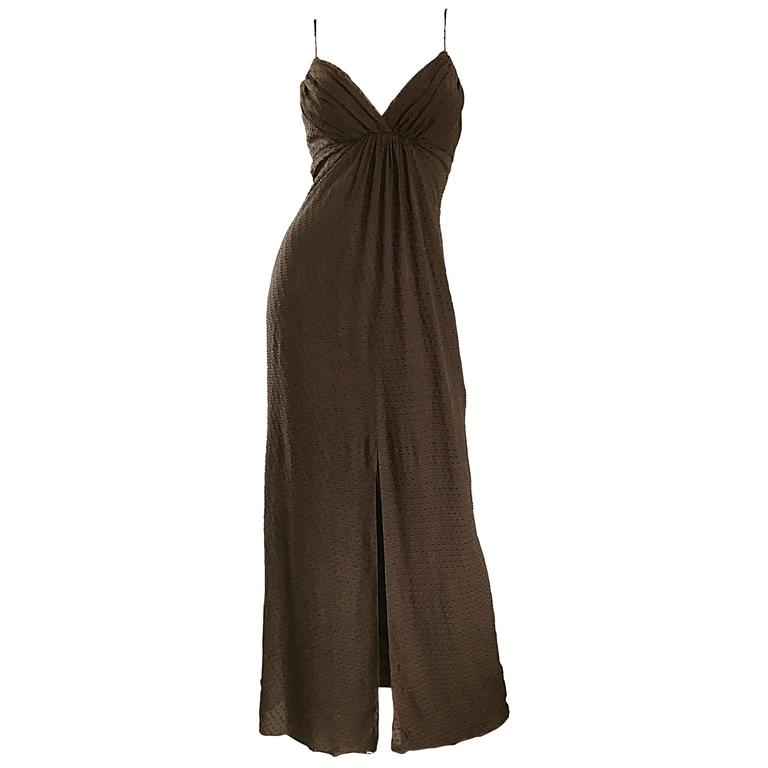 Carolina Herrera 1990s Espresso Brown Silk Chiffon Sz 8 Vintage 90s Gown Dress For Sale
