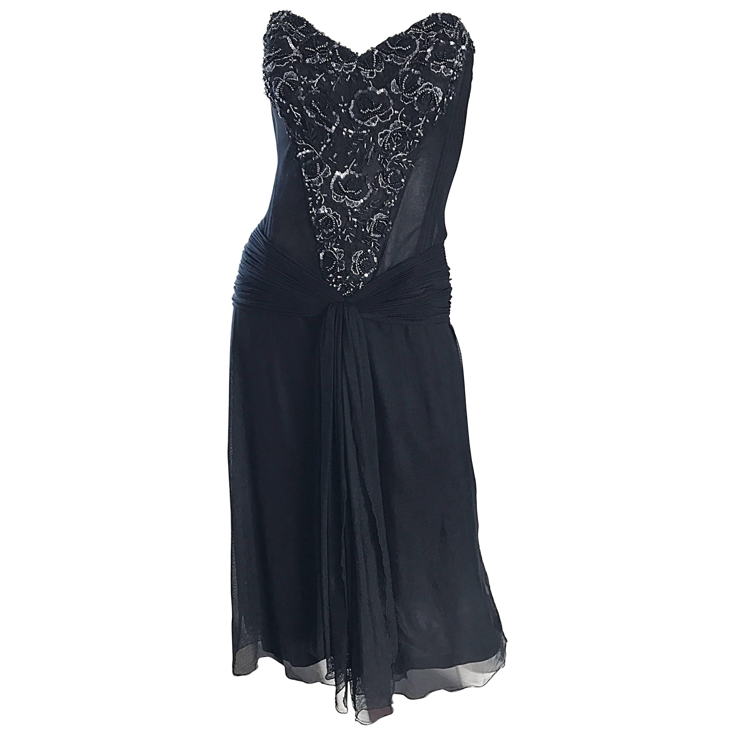 Vintage Vicky Tiel Couture Black Sequined and Beaded Strapless Flapper Dress