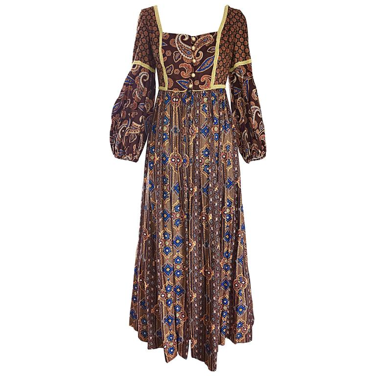 Jay Morley for Fern Violette 70s Boho Paisley Vintage Cotton Peasant Maxi Dress For Sale