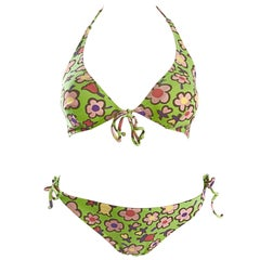 Vintage Moschino 1990s Neon Green Flower Printed 90s Two Piece String Bikini