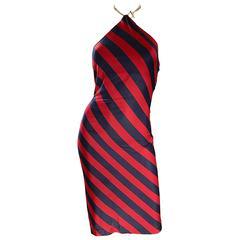 1990s Ralph Lauren Vintage Navy Blue & Red Striped Nautical 90s Chain Dress Sz 2