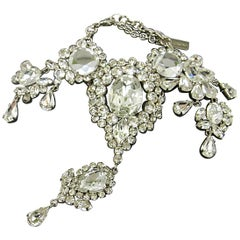 Dolce & Gabbana Silver Crystal Chain Link Evening Dangle Bracelet in Box
