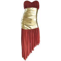 Vintage Angelo Tarlazzi Couture Metallic Gold + Rust Strapless Avant Garde Dress