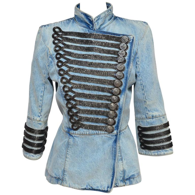 Rare Balmain Spring 2009 RTW Military Style Denim Jacket  New 42 FR For Sale