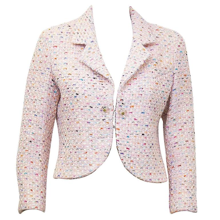 1994P Chanel Pastel Pink Multi-Color Boucle Cropped Jacket  1