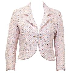 1994P Chanel Pastel Pink Multi-Color Boucle Cropped Jacket