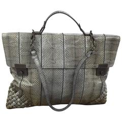 Bottega Veneta Gray Python Interecciato Travel Tote Brief Satchel Carryall Bag