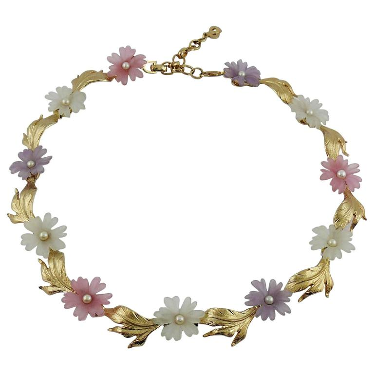 Christian Dior Vintage Delicate Floral Necklace For Sale