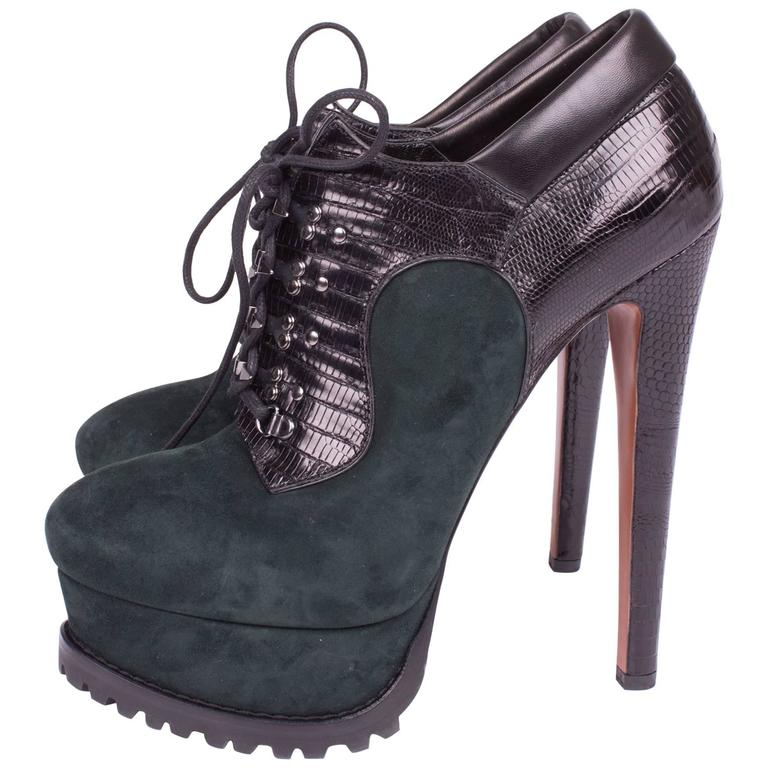 ALAIA High Heeled Lace-up Shoes - green/black