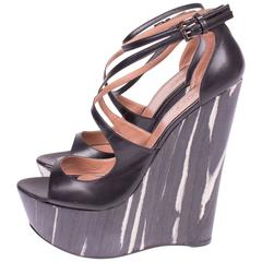 ALAIA Platform Shoes Wedges - black & white