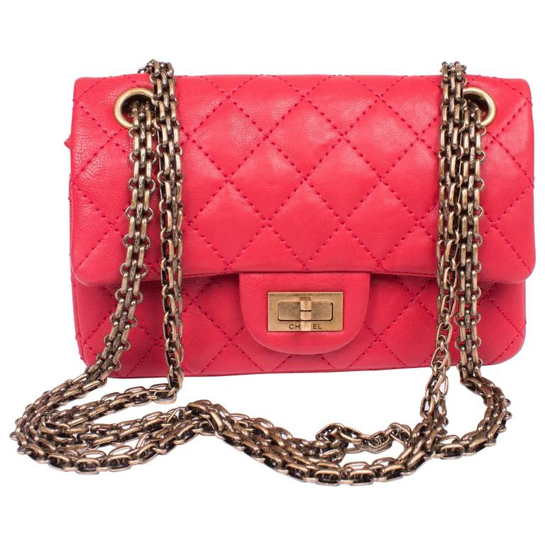 dcb36b66fdf8 Chanel 2.55 Reissue Classic Mini Double Flap Bag Mademoiselle Lock - red  For Sale
