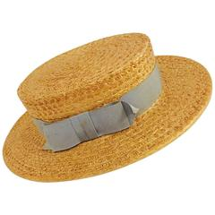 Men's or Women's 1920's Straw Boater, Won't You Come Punting with me?