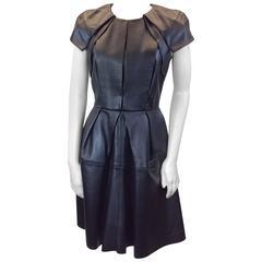 Dice Kayek Black Leather  Structured Dress