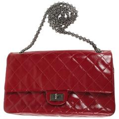 Chanel Jumbo Reissue Double Flap Bag - Red Patent Leather 226 Silver CC Handbag