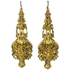 19th Century Massive Pinchbeck Earrings