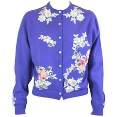 Purple Cashmere Cardigan with Lace Decoration