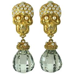 Gerard Yosca Pearl Studded Skull Earrings