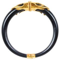 Vintage Inna Cytrine Matte Black Gold Tone Baroque Etched Choker Necklace