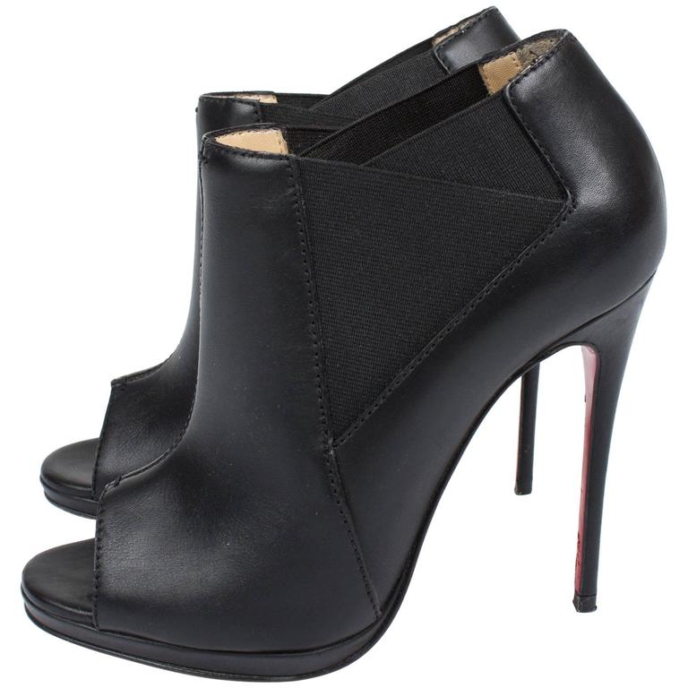 Louboutin High Heeled Peep Toe Boots - black leather