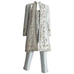 Pamela Dennis silk taffeta embroidered three piece suit, circa 1990s