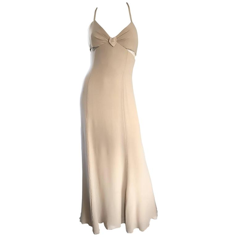 1990s Giorgio Armani Collezioni Nude Silk Chiffon Cut - Out Gown Evening Dress For Sale