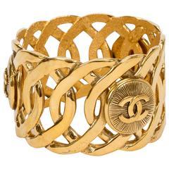 1980s Chanel Wide Logo Cuff Bracelet