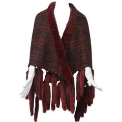 Fur-Trimmed Mohair Shawl