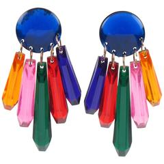 Oversized 1960s Dangling Chandelier Multicolor Lucite Clip on Earrings