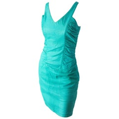 80s North Beach Leather Teal Dress
