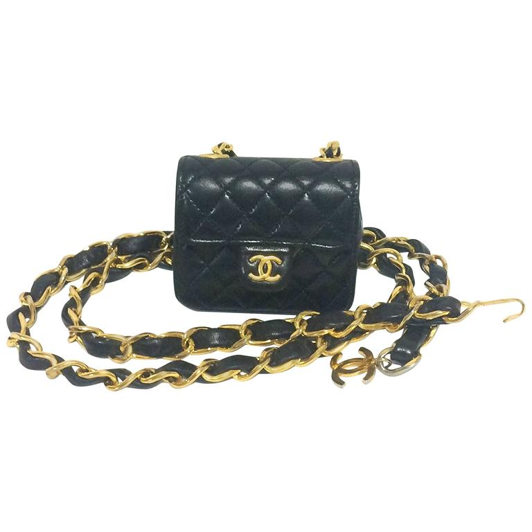 Vintage CHANEL black lambskin mini 2.55 bag charm chain leather belt with CC. 1