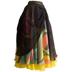 Yohji Yamamoto silk chiffon evening skirt,  AW 2005