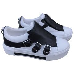 Alexander McQueen Black and White Leather Sneakers  Size 6