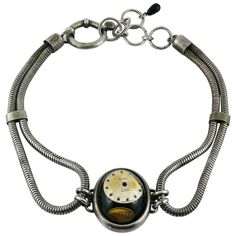 Jean Paul Gaultier Vintage Watch Dial Dog Collar Choker Necklace For Sale