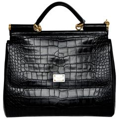 Dolce & Gabbana Crocodile  Handbag Large Miss Sicily MINT  $20,000