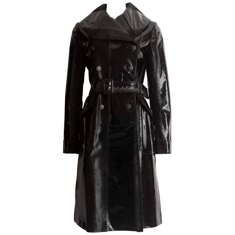 Alaia structured varnished pony hair trench coat, AW 2014