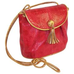 C.1990 Barbara Bolan Lipstick Red Snakeskin Shoulder Strap Handbag