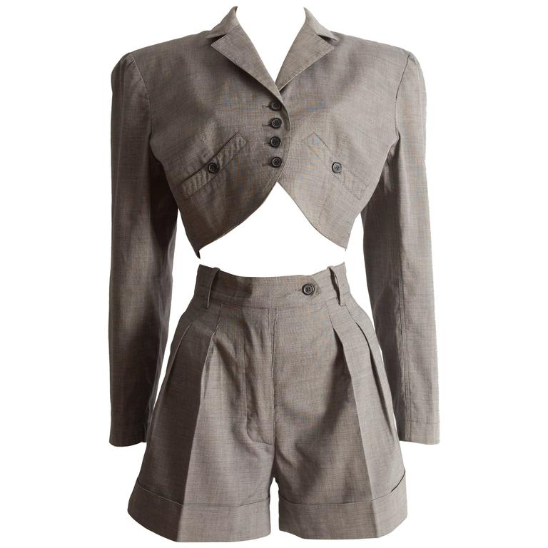 Alaia cotton mini short suit, SS 1988 For Sale