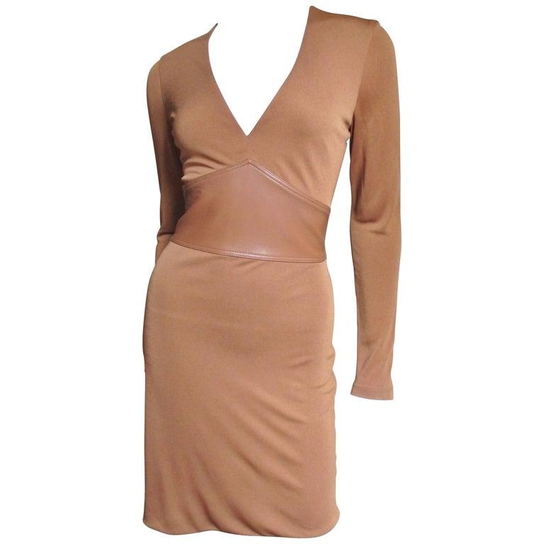 Gianni Versace Caramel Silk Dress With Leather Waist